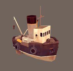Low-poly, handpainted longboat model