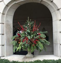 Outdoor Christmas Planters, Christmas Urns, Church Christmas Decorations, Christmas Greenery, Christmas Flowers, Christmas Centerpieces, Christmas Holidays, Christmas Wreaths, Christmas Floral Arrangements