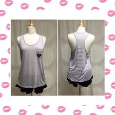 NEW!  Chanel Quote Heart Pocket Tank Who will disagree with style icon Coco Chanel - certainly not me!  Ash gray colored tank in 100% viscose.  True to size. Boutique Tops Tank Tops