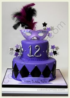 Purple, Black and Silver Mardi Gras Cake By MayWest on CakeCentral.com