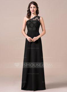 Vestidos princesa/ Formato A Um ombro Longos De chiffon Renda Vestido de madrinha (007057695)