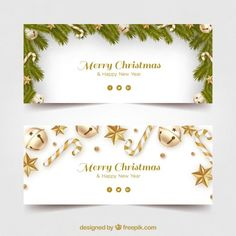 Merry christmas banners with golden decoration Vector Merry Christmas Banner, Merry Christmas And Happy New Year, Christmas Cards, Makeup At Home, Happy New Year Design, Free Banner, Ideas Hogar, Christmas Illustration, Banner Design