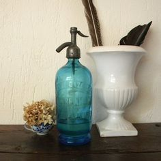 Vintage French country blue seltzer bottle