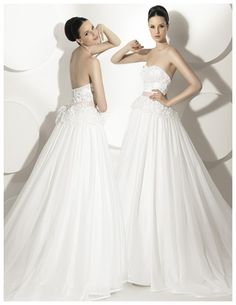 Wedding Dresses, Spring Wedding Dresses, 2014 Ball Gown Strapless Sweep Train Lace with Organza Wedding Dress