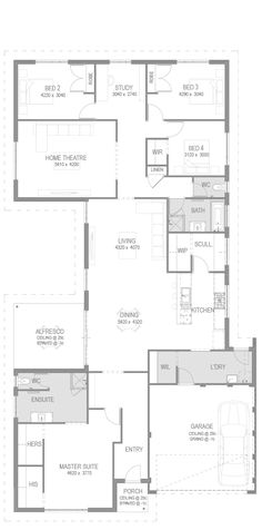 Love the master layout and garage connection to the kitchen. Would take out a bedroom and the second living space to make smaller Family House Plans, Best House Plans, House Floor Plans, Building Design, Building A House, Ranch Style Homes, Courtyard House, House Blueprints, Display Homes