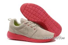 Mens Nike Roshe Run Light Gray Red Shoes TopDeals 269f7ccfaf4