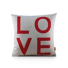 OJIA 18 X 18 Inch Cotton Linen Love Series Home Decorative Throw Pillow Cover Cushion Case (Red Word) Ojia $12.95 + $4.89 SHIPPING