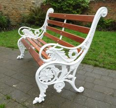 Thompson's Garden Emporium, suppliers and restorers of Victorian and later garden benches, urns and garden antiques. Cast Iron Garden Furniture, Outdoor Furniture Bench, Cast Iron Garden Bench, Cast Iron Bench, Metal Garden Benches, Outdoor Garden Bench, Patio Bench, Iron Furniture, Diy Bench