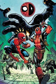 #Spiderman #Fan #Art. (SPIDER-MAN/DEADPOOL #14 Cover) By: ED McGUINNESS. (THE * 5 * STÅR * ÅWARD * OF: * AW YEAH, IT'S MAJOR ÅWESOMENESS!!!™)[THANK Ü 4 PINNING!!!<·><]<©>ÅÅÅ+(OB4E)   https://s-media-cache-ak0.pinimg.com/474x/cc/c2/10/ccc2103cc00986fda099af4b17232b31.jpg