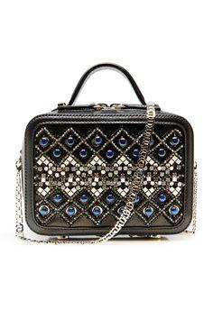 Bags Geometric Embellished Leather Box Clutch | La Perla