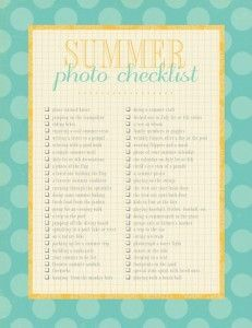 Great idea: bucket list for summer photos | Buttoned Up has once again found you a great freebie! Check out this summer photo checklist and make this summer the one you really have photos to remember it by!