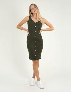 e46a1c12603a Γυναικείο χακί μάλλινο φόρεμα ριπ με κουμπιά 6842L  τορούχο  torouxo   foremata  φορέματα