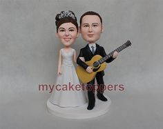 wedding Cake toppers custom made with guitar by dealeasynet, $135.00