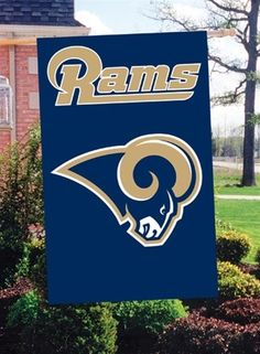 d359e5fae96 Los Angeles Rams Flag 2 Sided Applique House Banner