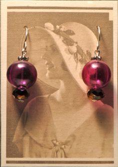 Purple Glass Globe Earrings by Foresthollow on Etsy, $38.00
