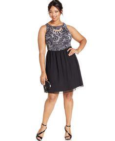 Love Squared Plus Size Necklace-Trim Party Dress