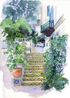 Catherine Rossi, Jardins Hotel El-Djazaïr (ex-Saint-George) l'escalier du coiffeur, 2010