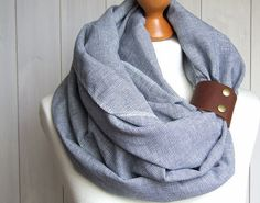 pure LINEN Infinity Scarf tube scarf with cuff, pure linen scarf, spring fashion