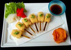 Nobu Style fish and chips on Nobu Rectangle plate.  Chef Oyvind Nobu Beijing.