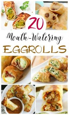 Mouthwatering egg roll recipes that are hearty, creative and some even hit the sweet spot! Think beyond pork egg rolls and dig into some family faves -- all wrapped in a fried or baked egg roll recipe! Enjoy a quick and simple recipe of egg rolls tonight! Egg Roll Wraps, Egg Roll Recipes, Recipes With Egg Roll Wrappers, Eggroll Wrapper Recipes, Easy Egg Roll Recipe, Pork Egg Rolls, Pizza Egg Rolls, Chicken Spring Rolls, Food Combining