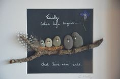 Family...where life begins and love never ends. A beautiful framed gift hand-made using pebble art. One of a kind gift that will be treasured.