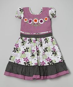 Love this Purple & White Pin Dot Floral Ruffle Dress - Toddler & Girls by Roberto Toscani on #zulily! #zulilyfinds