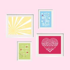 Kids Wall Art You Are My Sunshine Hot Pink Green Daisy 11x14 and 8x10 - Eclectic Nursery or Toddler Girl Wall Art - YassisPlace