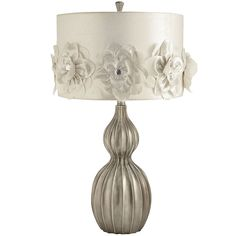 The lights part of lights, camera, action! our hollywood-inspired lamp creates a soft, romantic glow anywhere it appears. feminine fabric rosettes are anchore… Table Lamps For Bedroom, White Table Lamp, Fashion Art, Best Desk Lamp, Shimmer Lights, Large Lamps, Candle Lamp, Mirrored Furniture, Discount Lighting