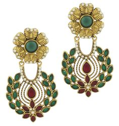 "WEDDING LOOK #MySiaLook  Designs and trends are essential factor to give you fashionable look. Gift yourself an unmatched appeal by adorning this beautiful pair of Rasrawa earrings studded with diamonds. Earrings Size is 1.5"" approx"
