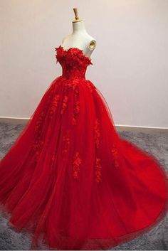 Red Ball Gown Tulle Strapless Generous Floral Fashion Quinceanera Prom Dresses SJS, This dress could be custom made, there are no extra cost to do custom size and color. Red Ball Gowns, Ball Gowns Evening, Red Gowns, Lace Evening Dresses, Ball Dresses, Dresses Uk, Ladies Dresses, Ball Gowns Prom, Red Wedding Dresses