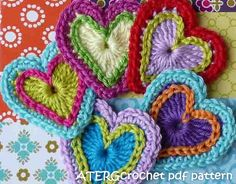 Crochet these lovely three colored petite hearts to use for an applique, a garland, on your gifts, etc, etc, etc ..............!!!!      The heart