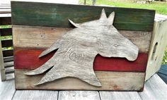 Handcrafted horse sign wood silhouette gray by Western Wall, Wood Wall Art, Wood Signs, Westerns, Moose Art, Silhouette, Horses, Gray, Room