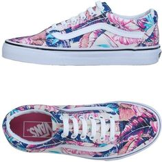 Vans Sneakers (385 RON) ❤ liked on Polyvore featuring shoes, sneakers, pink, pink sneakers, flower print sneakers, vans shoes, rubber sole shoes and vans trainers