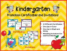 Your students have accomplished so much this year. It's time to present them with these exciting certificates, promoting them to 1st grade. This product comes with matching invitations to invite parents to that special end of the year ceremony. These unique and fun certificates and invitations are guaranteed to become part of a parent's scrapbook or memory box for years to come.