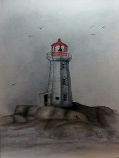 """""""Lighthouse Shore"""" 1 canvas Pen and Ink with Rouged Oils By Sandra Murphy-Evers Color Pencil Picture, Paint Pens, Lighthouses, Colored Pencils, Flower Pots, Landscapes, Ink, History, Studio"""