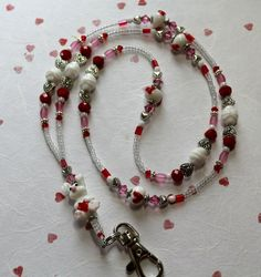 O O A K  Lampwork Glass Beaded Lanyard ID Badge by 2angels4abby