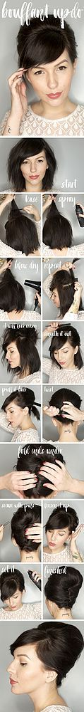 At long last, here's the frequently requested bouffant updo hair tutorial! This is one of my go-tos for a quick and easy updo, and it can be done on short or long hair (you'll just tuck longer ends, w