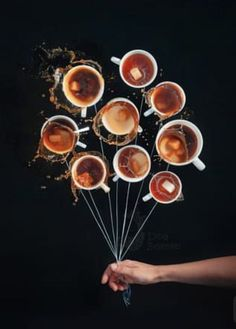 8 Amazing Flat Lay Photography Ideas A creative flat lay still life with 10 cups of coffee arranged in a circle with strings attached and a persons hand holding the strings as if it was a bunch of balloons I Love Coffee, Coffee Break, My Coffee, Coffee Drinks, Coffee Cups, Morning Coffee, Coffee Maker, Ninja Coffee, House Coffee