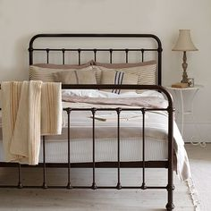 old school iron bed, simple and beautiful