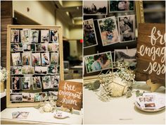 My wedding showcase booth! Gold Frame with photos make a great diy for any wedding. www.ashleycookphotography.com