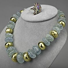 """GOLD GEMSTONE INDIAN JEWELRY  Jaipur melon carved aquamarine and gold-covered bead necklace, 18""""; 14k gold asymmetric ring with precious gems, diamonds and enamel, size 9 3/4. Ring only"""