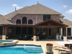 Full Gable Patio Covers Gallery - Highest Quality Waterproof Patio Covers in Dallas, Plano and Surrounding Texas Tx. Backyard Covered Patios, Covered Patio Design, Pool House Designs, Backyard Pool Designs, Outdoor Kitchen Patio, Farmhouse Front Porches, Backyard Pavilion, Front Porch Design, Outdoor Living Rooms