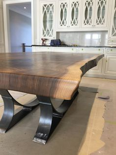 Live Edge Black Walnut dining table with half moon base Live Wood Slab Dining Table, Dining Table Design, Glass Dining Table, Walnut Table, Live Edge Furniture, Unique Furniture, Esstisch Design, Live Edge Table, Best Dining