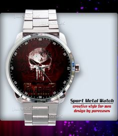 New Rare The Punisher Action Movie Red Skull  Logo Sport Metal Watch