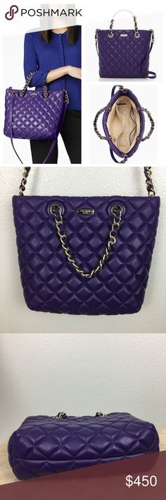 ♠️NWOT Kate Spade Quilted Tote in VIOLET♠️ Gorgeous violet purple, handheld bag with cross-body strap and magnetic snap closure, interior double side pockets and zip pocket. Includes a dust bag. •12.3''h x 10.5''w x 3.5''d •drop length: 5'' handheld; 20.5'' strap •leather quilted foam •light golden hardware •custom woven dot lining kate spade Bags Satchels