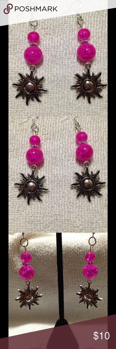 ‼️BLACK FRIDAY SALE‼️ Pink & Silver Sun Earrings These cute earrings are made with pink glass beads and pretty silver tone suns. They have a very lovely sparkle! The hooks are sterling silver. These earrings and all PeaceFrog jewelry items are made by me. All bundles are 15% off! PeaceFrog Jewelry Earrings