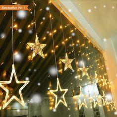 Hrph 12 Etoiles 138 LED Rideau Guirlande Lumineuse Clignotant No l