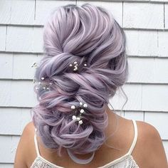 Lilac Hair Color for Bridal Hairstyle