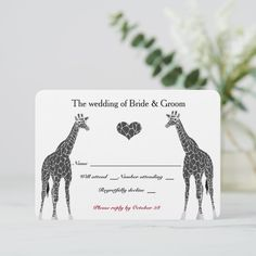 Shop Giraffe Love RSVP created by RiverJude. Wedding Response Cards, Beautiful Textures, Graphic Design Art, Bride Groom, Rsvp, Giraffe, No Response, Create Your Own, How To Draw Hands