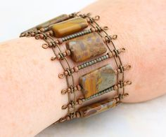 Stone Bracelet in earth tones with copper and brass accents and tiny gear shaped spacers - Steampunk Bracelet - Steam punk Jewelry
